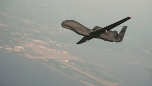US Navy handout photo of a RQ-4 Global Hawk drone over Naval Air Station Patuxent River
